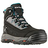 Korkers Women's Verglas Ridge Waterproof Snow Boots, Black, Leather, Rubber, 9 M