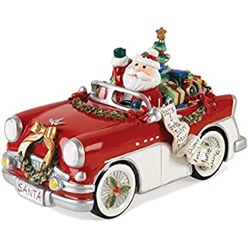 Merry Bright Collection Santa In Car Here Comes Claus Musical Figurine