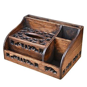 ZZSIccc - Caja de pañuelos multifuncional de madera para sala de estar, mesa de café