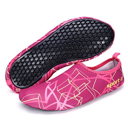 Pantofole Da Casa Kitleler Scarpe Da Uomo Donne Multifunzionali Quick Dry Aqua Socks Scarpe A Piedi Nudi Per Correre Dive Surf Nuotare Spiaggia Pink-red