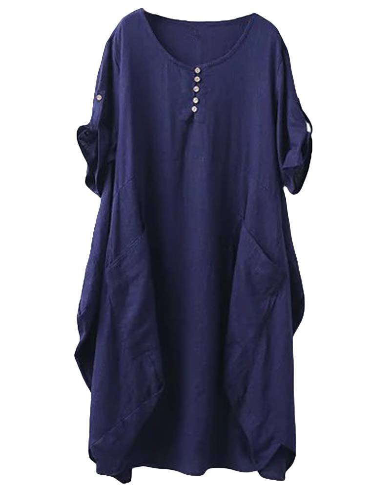 Minibee Women's Ruffle Loose Casual Midi Dresses with Pockets Navy Blue M