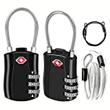 YSSHUI TSA Luggage Locks 2 Pack, Digit Combination Padlockss and Steel Cable Combination Travel Security Lock, Luggage Travel Lock Coded Lock