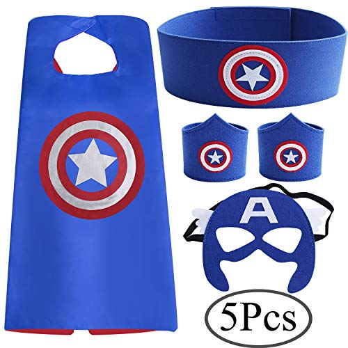 (Standie 5 PCS Costumes Set for Superhero Cape Cloak for Children or Boys Aged 3+ with Belt and Bracelets Half Masks Dress Up Party Costumes)