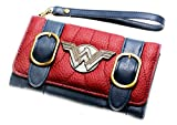 Wonder Woman Trifold Satchel Clutch Wallet With Metal Logo and Wristlet