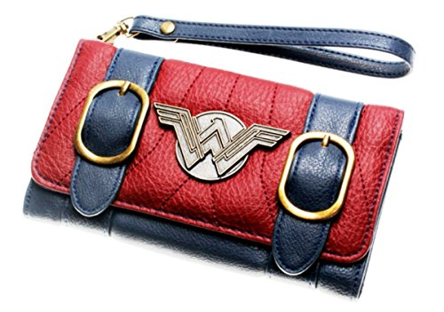 Wonder Woman Trifold Satchel Clutch Wallet With Metal Logo and Wristlet - Logo Clutch Wallet