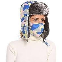 Zeagoo Trooper Trapper Russian Hats Aviator Winter Cap with Windproof Mask