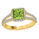 2.00 Ct Princess Cut Halo Pave Eternity Lab Created Green Peridot & White CZ Twist Shank Engagement Ring in 14k Yellow Gold Plated Size 4-12