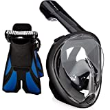 Ocean View Snorkel Mask Set (Black, Large / Extralarge)