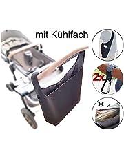 Universelle Kinderwagen Einkaufstasche XL (Neopren) mit Kühlfach | Schultergurt | 2 Karabinerhaken | SCHWARZ | Shopper Kinderwagen-tasche gross Rollator Rollstuhl Zubehör | MIND CARE ESSENTIALS