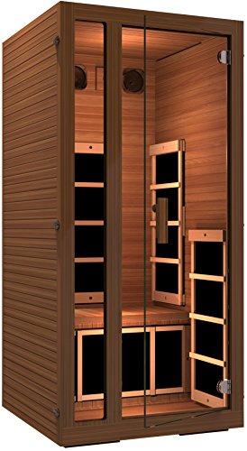 JNH Lifestyles Freedom 1 Person Canadian Western Red Cedar Wood Far Infrared Sauna 6 Carbon Fiber Heaters, 5 Year Warranty