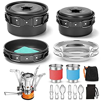 Odoland Camping Cookware Kit with Folding Camping Stove, Non-Stick Lightweight Pots Pan Set with Stainless Steel Cups… 12