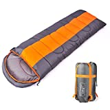 sleeping bag - Sleeping bag, packable backpacking sleeping bags with ultralight lightweight, 2 bags spliced as a big double sleeping bag for outdoor travel, hiking, camping in all seasons (Orange color left zipper)
