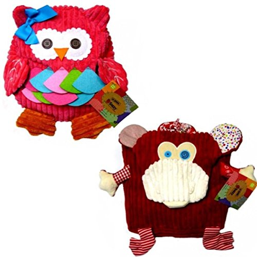 Sozzy Plush Chenille Cute Owls, Monkey, and Cow Childrens Toddlers Backpacks Easter Basket Discount 2 Pack (Pink Owl, Monkey)
