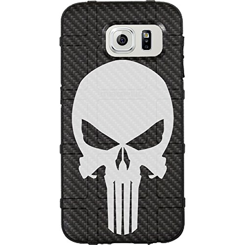 EGO Tactical Limited Edition Design UV-Printed onto a MAG488 Field Case Compatible with Samsung Galaxy S6 Carbon Fiber, Punisher White ()