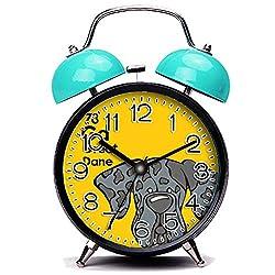 GIRLSIGHT3 Blue Alarm Clock,Dog Merle Great Dane Natural Ears - The Dog Table Loud Alarm Clock Twin Bell Alarm Clocks with Nightlight