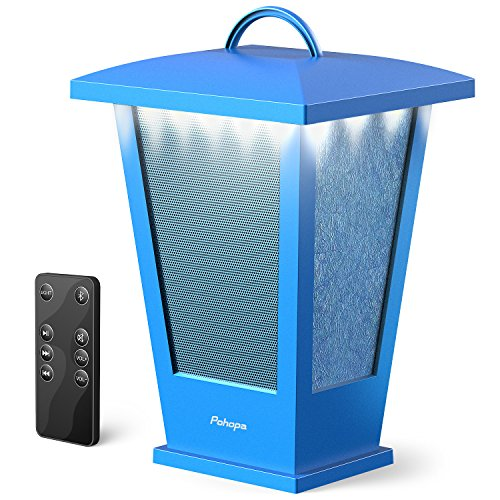 Portable Bluetooth Speakers Waterproof   Pohopa Lantern Indoor Outdoor Wireless Speaker With Lights  10W Surround Bass  20 Piece Led Lights  Support Remote Control  Blue