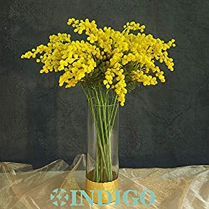 ShineBear 20 PCS Australia Acacia Small Style Yellow Mimosa Pudica Spray Artificial Flower Wedding Flower Party Event Decor 3