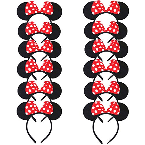 DreamHigh Minnie Mouse Ear and Red Bow Headband for Girls Birthday Costume Party (Set of 12)