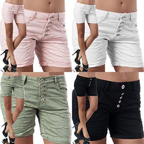 Hibote Pantalones Cortos para Mujeres Color Sólido Shorts de Mezclilla Moda Cintura Media Rasgados Shorts Casual Denim Shorts Jeans con Bolsillos Deporte Shorts S-2XL 3#