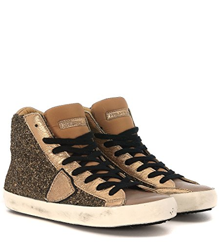 Sneakers Philippe Model Classic High con purpurina cuero y piel gris topo Dorado