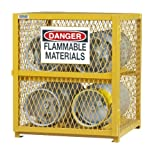 Durham Steel/Iron Horizontal Cylinder Storage Cabinet, EGCC4-50,  4 Cylinder Capacity,  30'' Length x 30'' Width x 35'' Height,  Yellow Powder Coat Finish