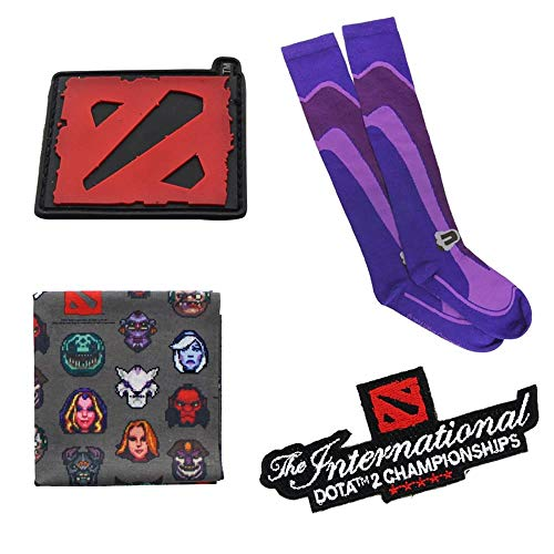 Dota 2 Gift Set: Logo Patch, Self Adhesive Patch, Bandana, Knee-High Socks