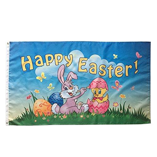 WOWMAR Happy Easter Flag- Bunny and Eggs Chick 3x5 Foot Banner Decorative Cute Spring Colorful House - Banner Flag Easter