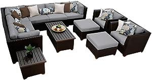 TK Classics BARBADOS-12c-GREY Barbados 12 Piece Outdoor Wicker Patio Furniture Set, Grey