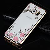 Amocase Soft Clear Case with 2 in 1 Stylus for Samaung Galaxy S6 Edge,Premium Bling Glitter Crystal Pink Flower Butterfly Electroplate Frame Back Case for Samaung Galaxy S6 Edge - Gold