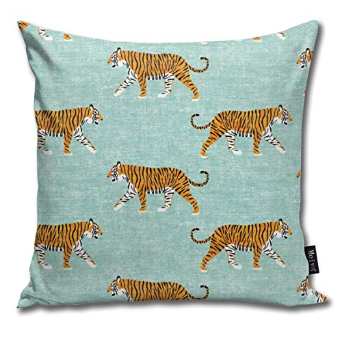 Hailiy Walking Tiger On Dark Mint (Woven) Home Decorative Throw Pillow Case Cushion Cover for Gift Bed Car Sofa