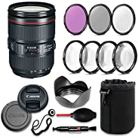 Canon EF 24-105mm f/4L IS II USM Lens Deluxe Accessory Bundle includes High Definition Filters, Macro Close Up Kit, Lens Pouch, Tulip Lens Hood, Lens Caps and More.... (White Box)
