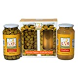 3BAR Dirty Martini Olive Juice 4 Quart jars & Picante Pimento Stuffed Olives 2 Quart jar