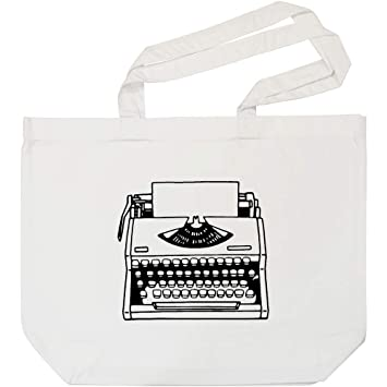 Azeeda Máquina de Escribir Bolso de Compras Blanco (BG00009850)