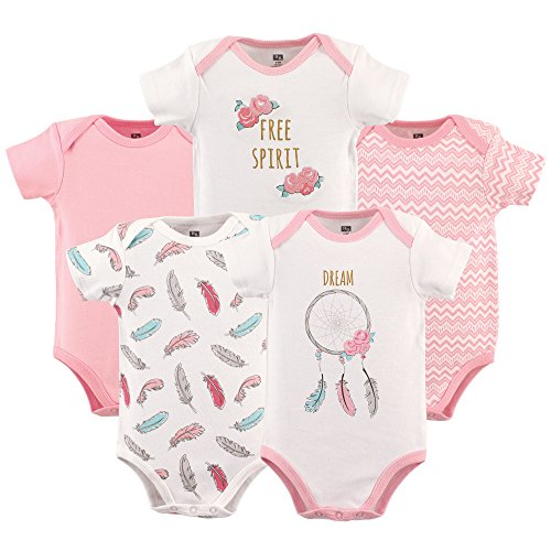 HUDSON BABY Unisex Baby Cotton Bodysuits, Dream Catcher 5 Pack, 3-6 Months (6M)]()