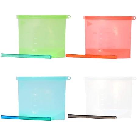 4 unidades Bolsas de silicona reutilizables para alimentos ...
