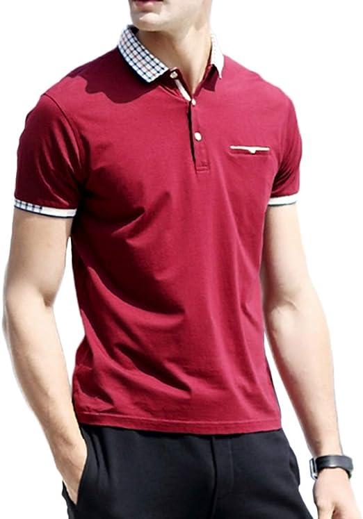 NDHSH Camisa Polo para Hombre Camisetas de algodón Top Manga Corta Camisetas Lisas Comodidad Negocios Verano Deportes al Aire Libre Tenis Regular Camiseta,Red-M: Amazon.es: Hogar
