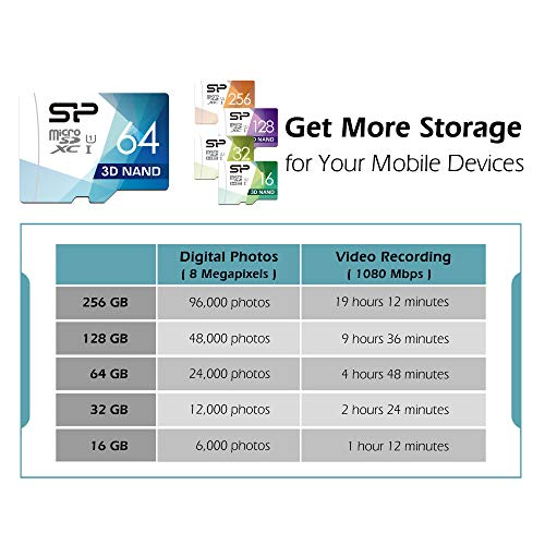 Silicon Power 64GB 3D NAND High Speed MicroSD Card with Adapter