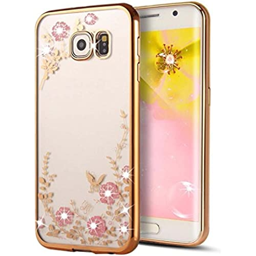 Samsung Galaxy S7 Edge - Ispace Glitter Electroplate Bumper Bling Butterfly Garden Soft TPU Silicone Flip Back Sales