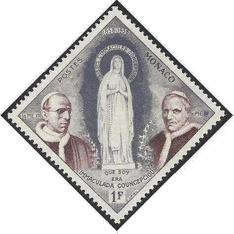 Collectible Postage Stamps/Monaco - 1958 MNH 1v. Centenary of Apparition of Virgin Mary at Lourdes Popes Religion