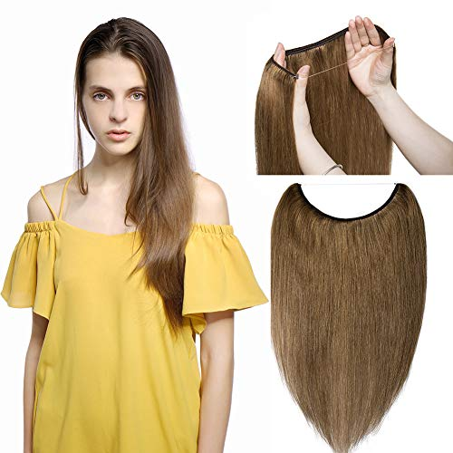 Hidden Invisible Crown Flip on Human Hair Extension One Piece Secret Miracle Wire in Hairpieces No Clip No Tape in Remy Hair Translucent Fish Line Headband 75g 22''/22inch #6 Light Brown ()
