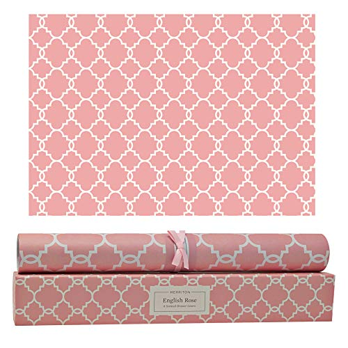 (Merriton English Rose Scented Drawer Liners, Fresh Scent Paper Liners for Cabinet Drawers, Dresser Shelves, Linen Closet, Perfect for Kitchen, Bathroom, Vanity (6 Sheets))