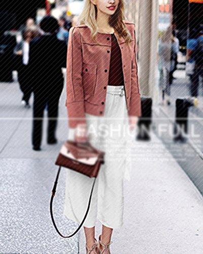 Jacket Pink Donna Punk Stile In Cappotto Cerniera Giacca Pelle Corto qp8q14w