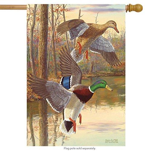Mallards at Dusk Fall House Flag Ducks Autumn Lake Briarwood Lane 28