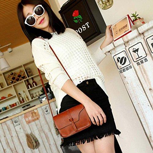 Fulltime (TM) mujeres Vintage bolso bolsa de piel bolso Cruz Cuerpo Hombro Messenger Bag, Infantil mujer, hot pink, 18.5cm(L)*13.5(H)*4cm(W) marrón