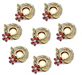 Set of 8 pc Christmas Gift / Decoration Beautiful Christmas Tea Light Holder with Red stones in Random Foil Paint. Tea Light Holder / Christmas Decoration