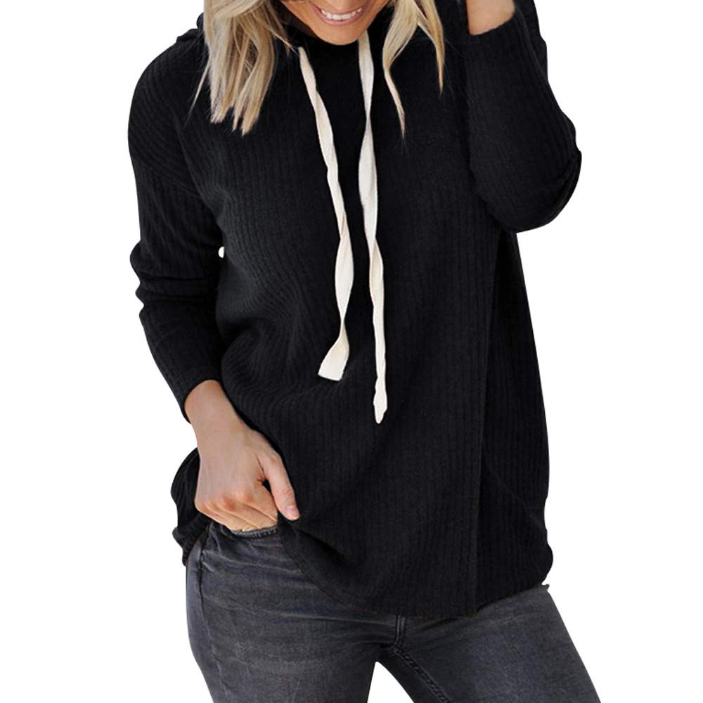 ✩HebeTop Women Long Sleeve Hooded Asymmetric Hem Wrap Hoodie Sweatshirt Outwear Tops Blouse Black by ▶HebeTop◄➟HOT SALES