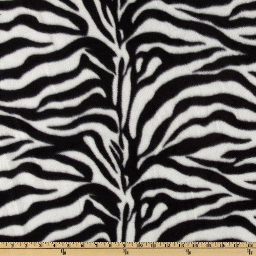 Baum Textiles WinterFleece Black/White Zebra Fabric, Black/Oat, Fabric by the yard