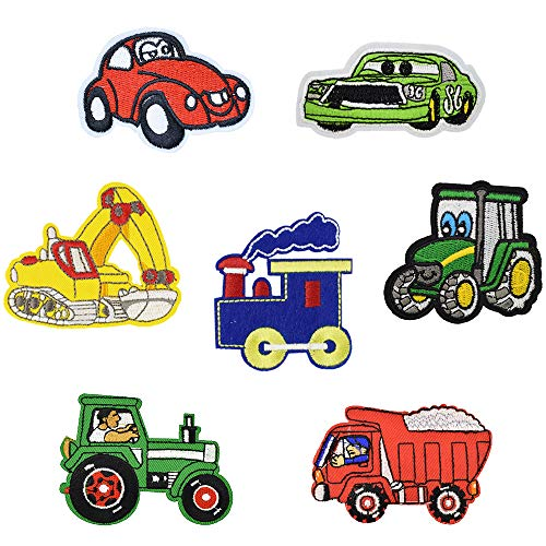 Funny Car Embroidered Iron on Patches for Kids' Clothes Jackets Backpacks (7 ()