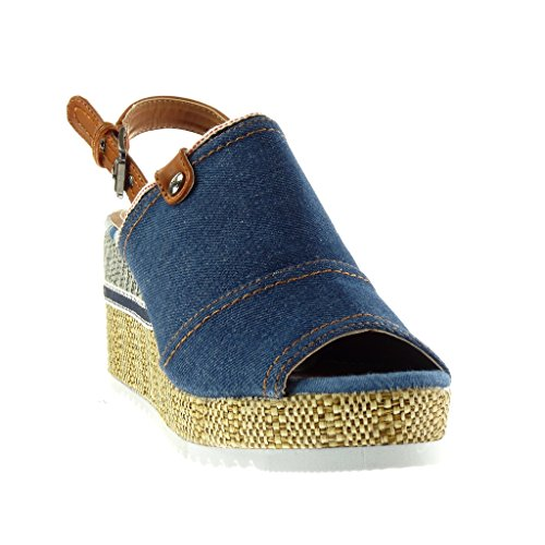 Angkorly - Chaussure Mode Sandale Mule Peep-Toe plateforme ouverte femme tréssé finition surpiqûres coutures boucle Talon compensé plateforme 8.5 CM - Bleu