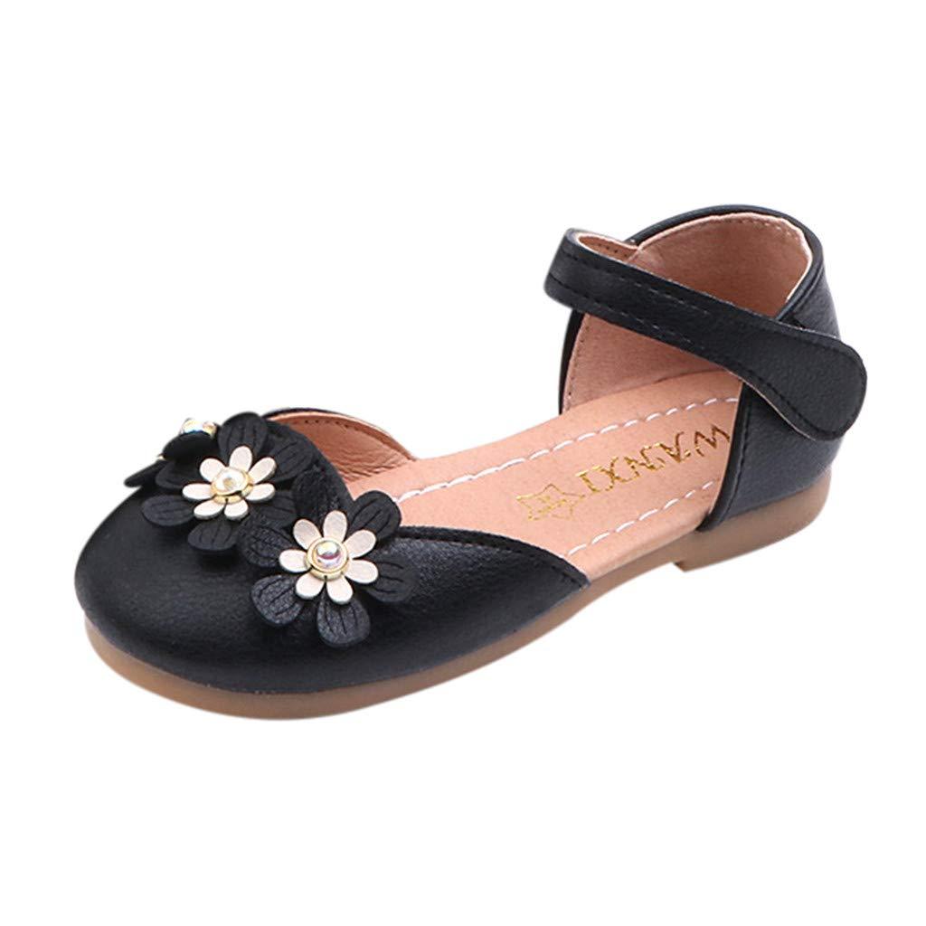 Little Girls Princess Shoes,Jchen Baby Kids Girl Sweet Elegant Flower Party Casual Sandals Princess Single Shoes for 3-6 Yrs (11.5 M US Little Kids, Black)
